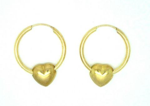 9ct Yellow Gold Hoop with Thread Through Heart Earrings